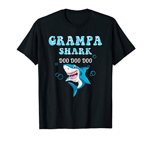 Grampa Shark T-Shirt Fathers Day Gift from Wife Son Daughter