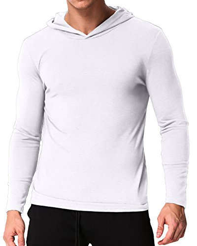 PODOM Men's Long Sleeve Hoodies Hooded Sweatshirts Tee Shirts Cotton V Neck Tops White 2XL