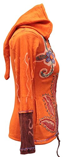 Shopoholic Fashion Donna Gotico Fiamme Sole Orange Giacca Cappuccio Hippie rrACwqZ
