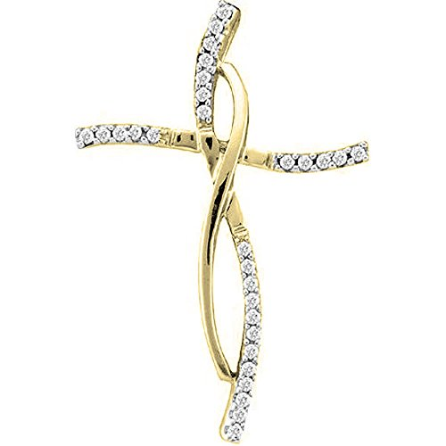 0.12 Carat (ctw) 14K Yellow Gold Round White Diamond Ladies Cross Pendant (Silver Chain Included)