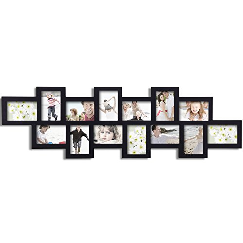 Adeco 14 Openings Black Wood Decorative Alternating Collage Puzzle Picture Photo Frame, Made to Display Fourteen 4x6 Photos