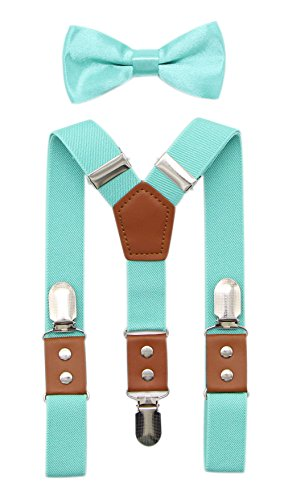 JAIFEI Suspender & Bowtie Set For Men & Boys Durable Clips & High End PU Leather (Boys(32 Inches), Teal) - Collection Black Tie White Flowers