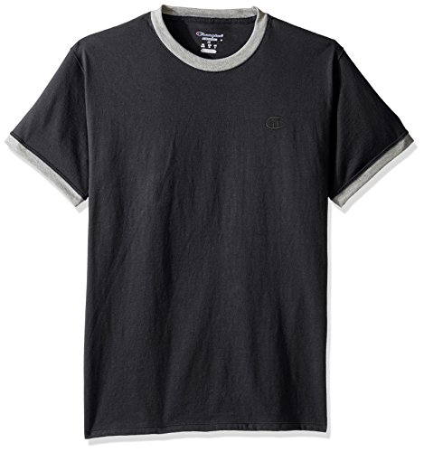 Champion Men's Classic Jersey Ringer Tee, Granite Heather/Oxford Gray Heather, (Basketball Jersey Tee)