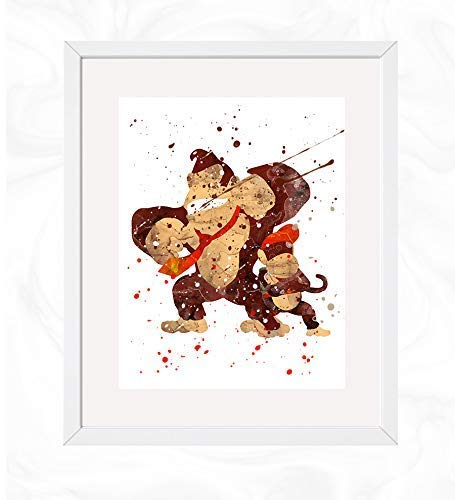 Donkey and Diddy Kong Prints, Donkey Kong Country Watercolor, Nursery Wall Poster, Holiday Gift, Kids and Children Artworks, Digital Illustration Art
