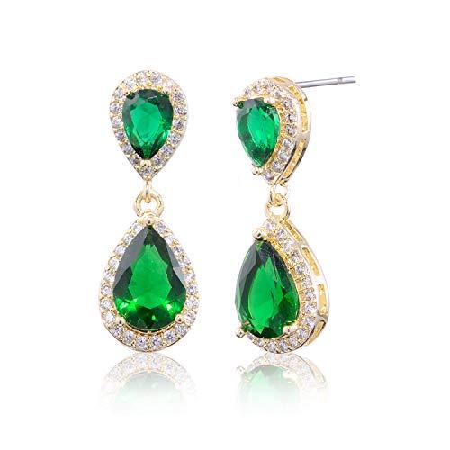 - CZ Teardrop Emerald Green Earrings - Women's 18k Gold Plated Sterling Silver Cubic Zirconia Crystal Rhinestone Wedding Hypoallergenic Drop Earrings for Mother's Day May Birthstone Jewelry