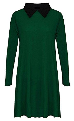Donne Bottiglia Oscillare Lunghe Nero Signore Collare Vestito Nuove Più Con Maniche Verde Formato Del Pianura Delle 51OAqH