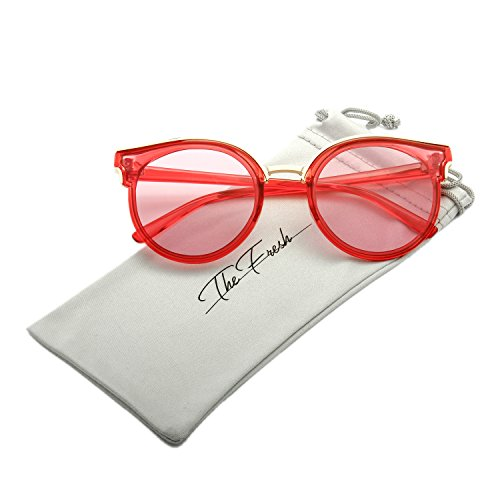 The Fresh Modern Crystal/Metal Frame Colored Flat Lens Horn Rimmed Sunglasses with Gift Box (Crystal Red, - Women Sunglasses Modern For