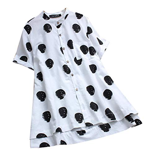 KYLEON Women Tops T-Shirts Plus Size Vintage Polka Dot Print Button Short Sleeves Pocket Summer Casual Loose Cami Blouse