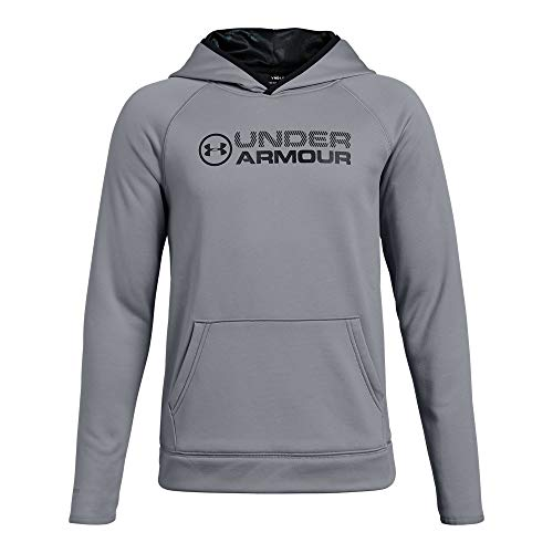 Stacked Hoody Sweatshirt - Under Armour Boys Armour Fleece Stacked Hoodie, Steel (035)/Black, Youth X-Large