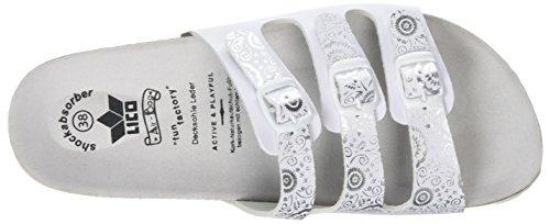 Silber Bioline Bianco Pantofole Silber Flower Weiss Donna Weiss Lico 4Uq7Zx8wU