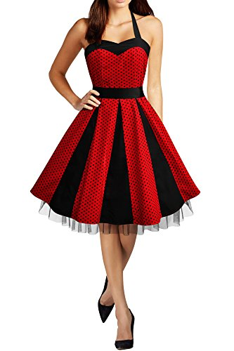 Black Butterfly 'Ivy' 50's Polka Dot Swing Dress (Red - Small Black Dots, US 6)