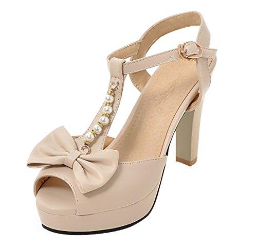 UH Talons Cheville Bride Fermeture Abricot Avec à Boucle Blocs Mariage Papillon pour Noeuds Toe Hauts de Peep Femmes Sandales 1Fvwr1
