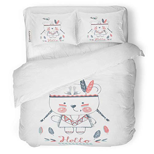 VAMIX Duvet Cover Set Cute Indian Bear Girl Bird Kid Baby Graphic Decorative Bedding Set with Pillow Case Twin Size