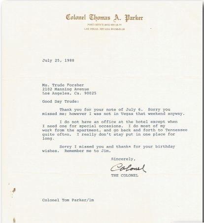 Elvis Presley Memorabilia – COLONEL PARKER CORRESPONDENCE