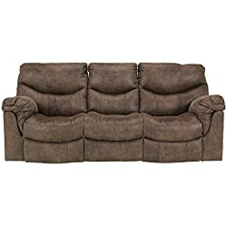 Ashley Furniture Signature Design - Alzena Recliner Sofa - Manual Reclining - Gunsmoke Brown