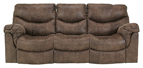 Ashley Furniture Signature Design - Alzena Recliner Sofa - Manual Reclining - Gunsmoke Brown Brown Reclining Sofa