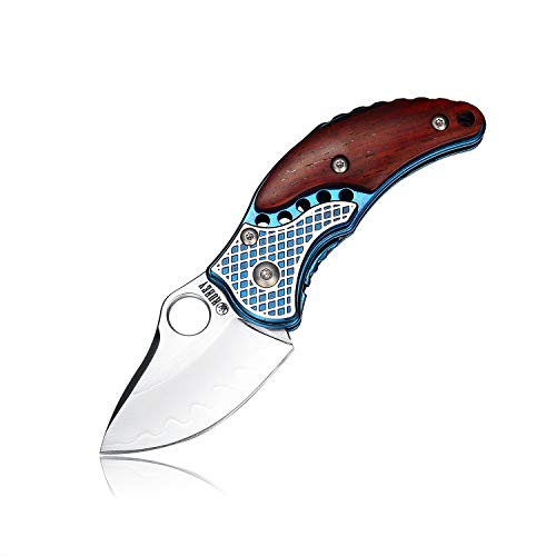 KUBEY Folding Pocket Knife with Wooden Handle Drop Point Shaving Sharp Blade Thumb Hole One Hand Opening for Outdoor Hunting Camping Tool (DM146A)