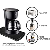 Kitchen Caddy Sliding Coffee Tray Mat, Under Cabinet Appliance Coffee Maker Toaster Countertop Storage Moving Slider - Base sliding shelf With Smooth Rolling Wheels(1 Pack)