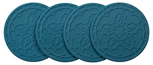 - Le Creuset Silicone Set of 4 French Coasters, Marine