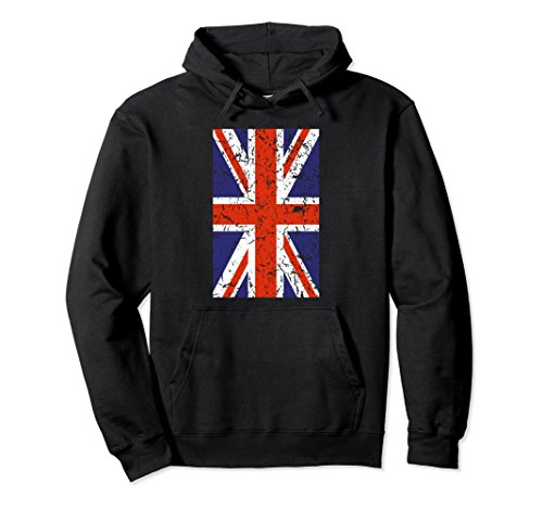 Unisex English Flag Hoodie Featuring the Union Jack British Flag XL: Black (Country Hoody)