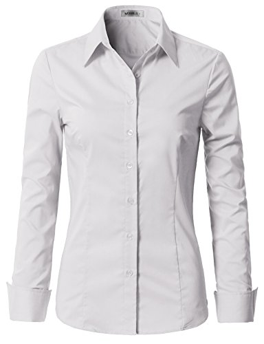 Doublju Womens Slim Fit Plus Size Business Casual Long Sleeve Button Down Dress Shirt White 1X