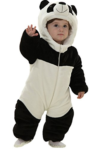 Infant Baby Boys Girls Winter Flannel Panda Bunting Outfits Snowsuit Romper Outwear -