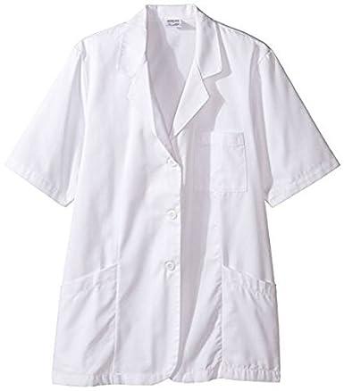 worklon 105S poliéster/algodón camiseta de manga corta para farmacia bata de laboratorio con botón frontal cierre, pequeño, color blanco: Amazon.es: Amazon.es