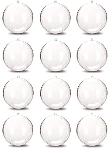 Ornament Ornament Round Round (iFavor123 Set of 12 Clear Plastic DIY Fillable Round Ornaments for Holidays Home Decorations Arts and Crafts (8CM))