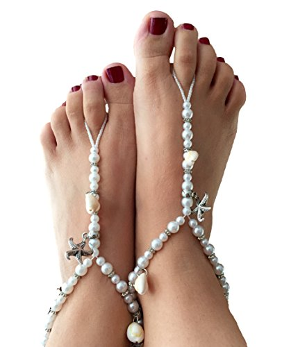 Picki Nicki Barefoot Sandals with Starfish and Pearls, Perfect Foot Jewelry for Beach Wedding by Picki Nicki