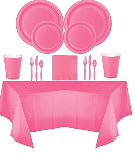 (Disposable Dinnerware Set for 16 Guests, Including Paper Dinner & Dessert Plates, Napkins, Cups, Cutlery, and Tablecover (Bubblegum)
