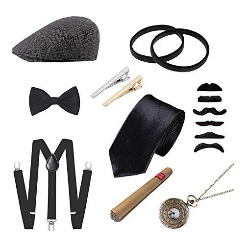 Icevog 1920s Mens Accessories Set Gatsby Gangster Costume Newsboy Ascot Cap Hat Suspenders Tie Toy Cigar Mustaches