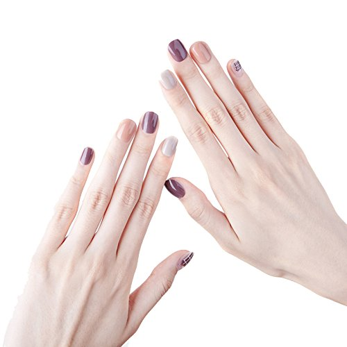 JINDIN 24 Sheet Short False Nails with Glue Design French Manicure Square Nail Art Kit for Women