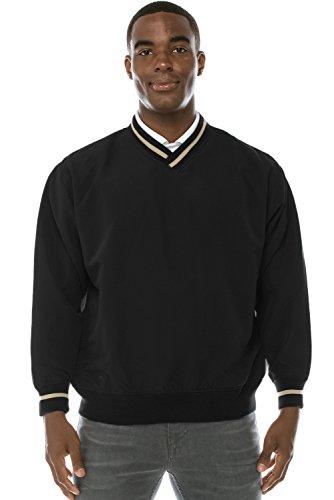 Mens Athletic Golf V-Neck Pullover W/ Pockets BLACK Windshirt Large