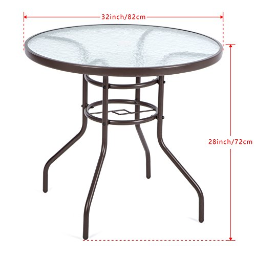 patio table umbrella luckup 32 quot patio outdoor dining table tempered glass top 10666