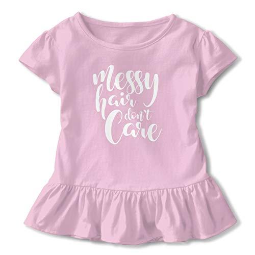 LFCLOSET Messy Hair Don't Care Logo Girls Short Sleeved Shirt Cute Ruffle Top Girls Soft Basic T-Shirt Pink ()