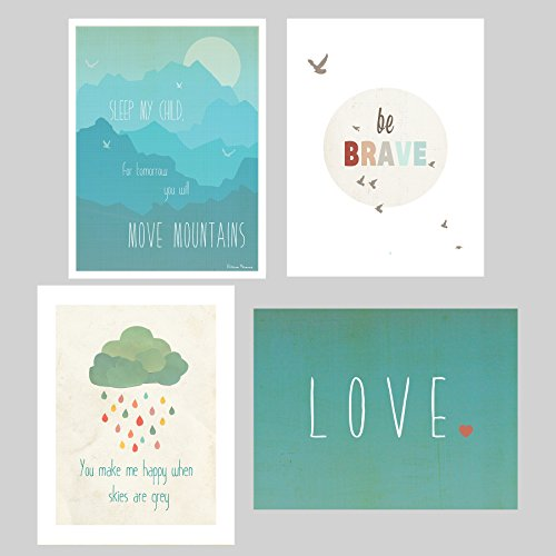 Happiness Mini Collection Prints, 5″ x 7″, Set of 4, Motivational Art, Inspirational Quotes, Kid's Room Decor, Nursery Room Decor, Love Phrases