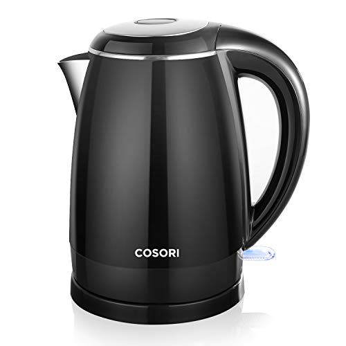 COSORI Electric Kettle(BPA Free), 1.8 Qt Double Wall 304 Stainless Steel Water Boiler, Coffee Pot & Tea Kettle, Auto Shut-Off and Boil-Dry Protection, Cordless,FDA/ETL/CETL Approved, 2 Year Warranty - Handle Teapot Double