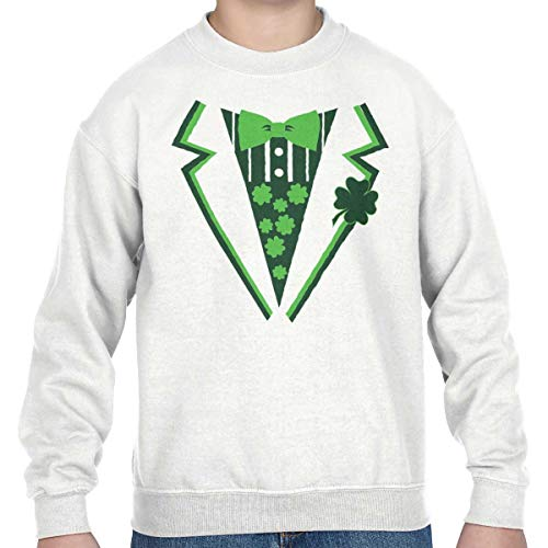 Tux Sweatshirt (Brisco Brands St Patricks Day Leprechaun Fake Printed Tux Youth Sweatshirt White)