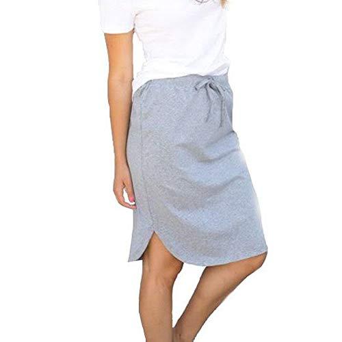 Tickled Teal Women's Casual Cotton Blend Knee-Length High Waist Summer Elastic Short Weekend Skirt (Gray, Medium)