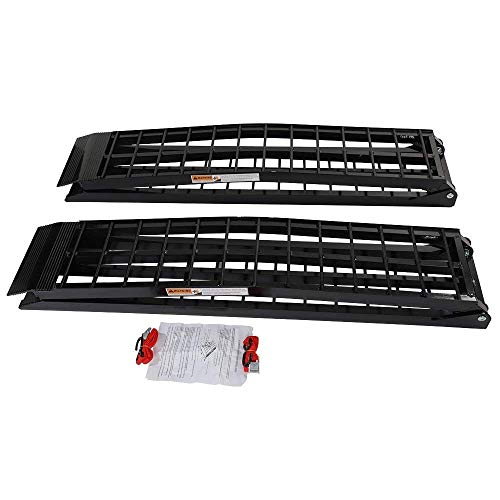 Autoforever 9 ft Black Aluminum Folding Dual Off-Road ATV UTV Loading Ramps 1200 Pounds Folded Aluminum Ramps
