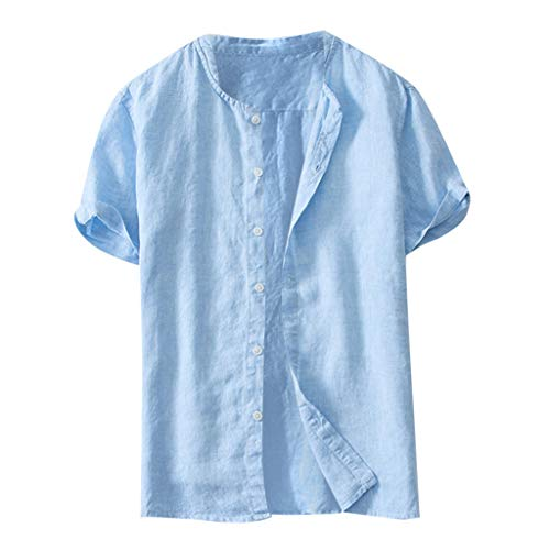 iHPH7 Shirt Button Down Casual Lightweight Short Sleeve Beach Summer Cool Thin Breathable Solid Color Button Men (XL,Blue) -