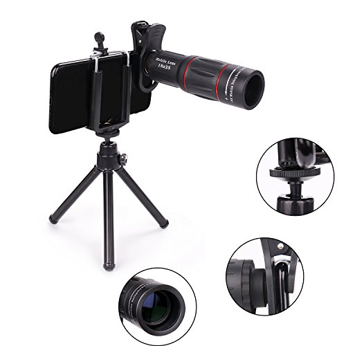 MOCALACA 18X iPhone Telephoto Zoom Lens, Cell Phone Lens with Mini Flexible Tripod + Phone Cases + Universal Clip for iPhone X/8/8 Plus/7/7 Plus/6s/6s Plus/6/6 Plus/Ipad,Samsung Galaxy