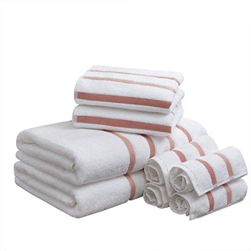Comfort Spaces Cotton 8 Piece Bath Towel Set Striped Ultra Soft Hotel Quality Quick Dry Absorbent Bathroom Shower Hand Face Washcloths, Blush (Blush Accessories Bathroom)