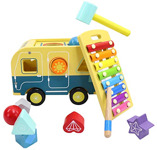 4-in-1 Multifunctional Toddler Toys - School Bus | Pounding Toy with Ball and Hammer | Xylophone | Shape Sorter | Wooden Baby Toys | Educational Toys for Kids | Toys for 1 2 3 Years Old