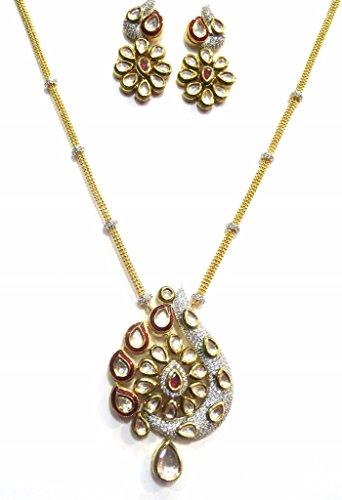 Jewelshingar Jewellery Antique Gold Plated Fine Polki Kundan Pendant Set For Girls ( 17451-acs ) by Jewelshingar