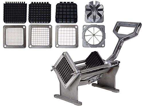 (Mr.Lucas French Fry Potato Press adjustable Cutter Set Fruit Vegetable Commercial Slicer Cutting W/ 4 Blades)