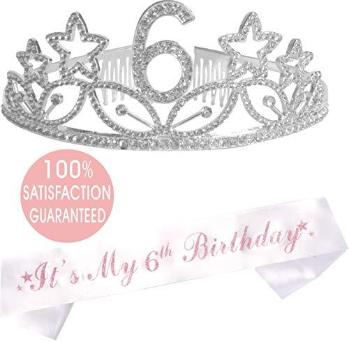 6th Birthday Tiara and Sash| Happy 6th Birthday Party Supplies|