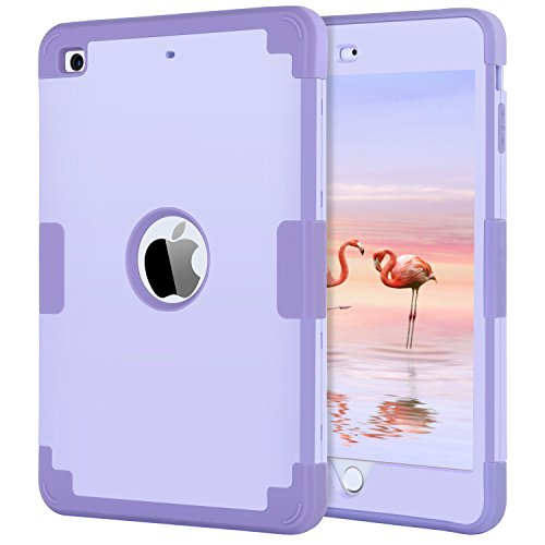 iPad mini Case, iPad mini 2 Case, iPad mini 3 Case, BENTOBEN Heavy Duty Shockproof Slim Anti-slip Hybrid 3 Layer Hard PC Cover Soft Silicone Protective iPad Case for iPad Mini 1 2 3 With Retina Purple