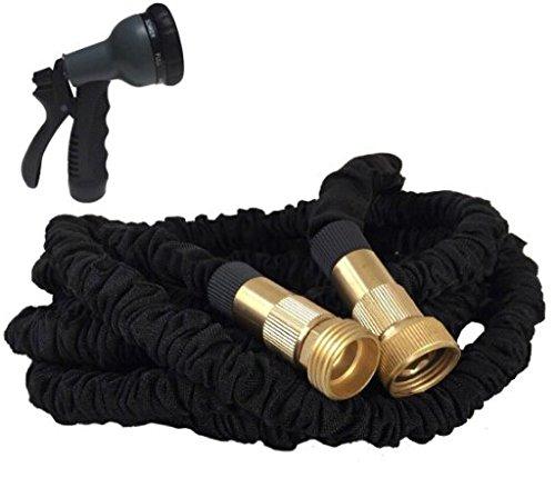 Manguera de jard/ín flexible,tubo de escape extensible de l/átex,para el lavado a presi/ón,negro