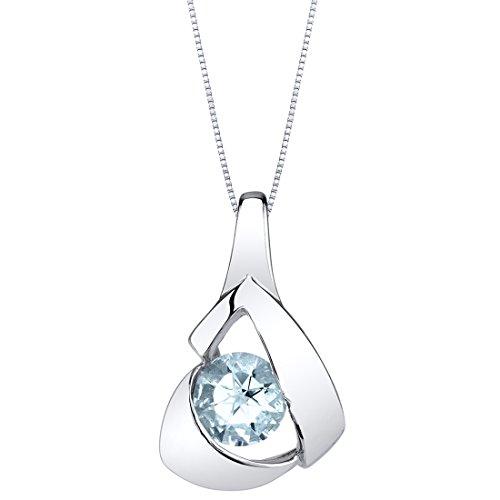 (Aquamarine Sterling Silver Chiseled Pendant Necklace)